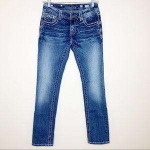 Miss Me Bling Pocket Straight Leg Jean 27